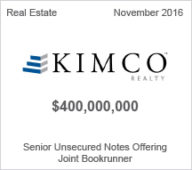 Kimco Realty $400 million Senior Unsecured Notes Offering - Joint Bookrunner