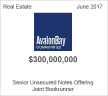 Avalon Bay $3 million Senior Unsecured Notes Offering
