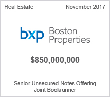 Boston Properties - $850 million Senior Unsecured Notes Offering - Joint Bookrunner