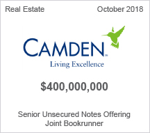 Camden - $400 million Senior Unsecured Notes Offering - Joint Bookrunner