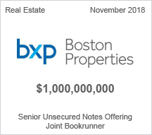 Boston Properties - $1 billion Senior Unsecured Notes Offering - Joint Bookrunner