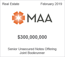 MAA - $300 million Senior Unsecured Notes Offering - Joint Bookrunner