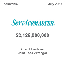 Service Master - $2.1 billion Credit Facilities - Joint Lead Arranger