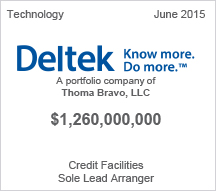 Deltek - $1.2 billion Credit Facility
