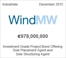 WindMW - €978 million Investment Grade Project Bond Offering