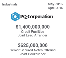 PQ Corporation - $1.4 billion Credit Facilities   -  $625 million Senior Secured Notes Offering
