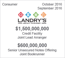 LANDRY'S $1.5 billion Credit Facility – $6 million Senior Unsecured Notes Offering