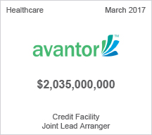 Avantor - $2 billion Credit Facility Joint Lead Arranger