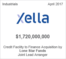 Xella $1.720 billion Credit Facility to Finance Acwuisition by Loan Star Funds  - Joint Lead Arranger