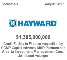 Hayward - $1.38 billion Credit Facility to Finance Acquistion by CCMP Capital Advisors, MSD Partners and Alberta Investment Management Corp. - Joint Lead Arranger