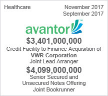Avantor - $3.4 billion Credit Facility to Finance Acquisition of VWR Corporation and $4 billion Senior Secured and Unsecured Notes Offering