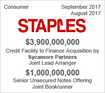 STAPLES - $3.96 billion Credit Facility  –  $1 billion Senior Unsecured Notes Offering