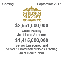 Golden Nugget - $2.5 billion Credit Facility –  $1.4 billion Senior Unsecured and Senior Subordinated Notes Offering