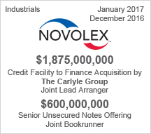 Novolex  $1.87 billion Credit Facility  - $600 million Senior Unsecured Notes Offering