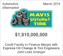 Mavis Discount Tire - $1.910 billion Credit Facility to Finance Merger with Express Oil Change & Tire Engineers - Joint Lead Arranger