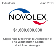 Novolex Holdings, Inc.  - $1.6 billion Credit Facility to Finance Acquisition of The Waddington Group - Joint Lead Arranger