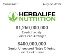 Herbalife Nutrition Ltd. - $1.25 billion Credit Facility - Joint Lead Arranger - $4 million Senior Unsecured Notes Offering - Joint Bookrunner