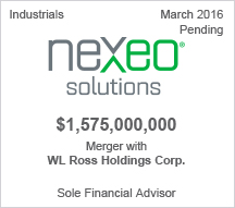 Nexeo $1.5 billion merger with WL Ross Holdings Corp. - Pending - Sole Financial Advisor