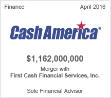 Cash America $1.162 billion Merger with First Cash Financial Services, Inc.