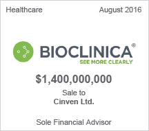 Bioclinica - $1.4 billion Sale to Cinven Ltd.  Sole Financial Advisor