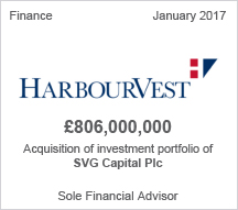 HarbourVest £806 million Acquisition of investment portfolio of SVG Capital Plc - Sole Financial Advisor