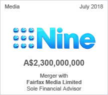 Nine Entertainment Corp - A$2.3 billion Merger with Fairfax Media Limited - Sole Financial Advisor