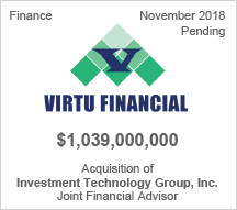 Virtu Financial - $1.039 billion Acquisition of Investment Technology Group, Inc. - Joint Financial Advisor